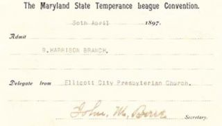 TICKET For ADMISSION To The MARYLAND STATE TEMPERANCE LEAGUE CONVENTION. Temperance.