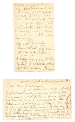 TWO POSTCARDS ADDRESSED To MRS. LILLIAN MITCHNER. Post Card - Temperance, Lillian Mitchner