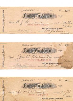 LOT Of NINE BANK Of AMADOR COUNTY CHECKS And TWO 'AFFIDAVIT For SCALP BOUNTY'.