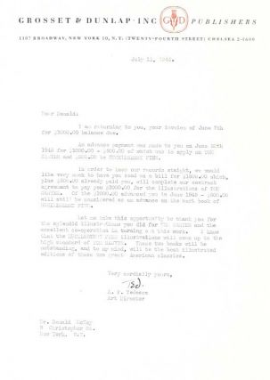 SMALL ARCHIVE Of A PUBLISHERS CONTRACT With DONALD MCKAY For ILLUSTRATIONS Of MARK TWAIN TITLES.