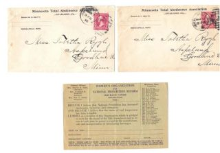 COLLECTION Of TEMPERANCE MATERIAL From MINNESOTA.; Including a Photograph, Abstinence Association Envelopes, Post Card and other.