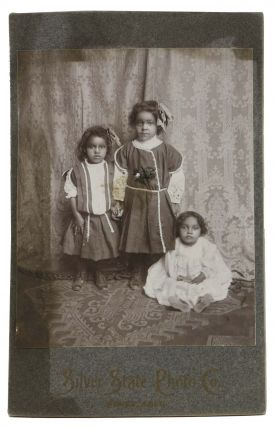 CABINET CARD PHOTOGRAPH Of THREE YOUNG GIRLS, Presumed Native American. Colorado History