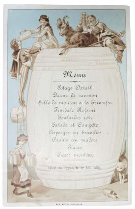 MENU.; Hôtel du Cygne, le 17 Mai 1885. Restaurant Menu - French.