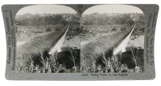 PIPING WATER To LOS ANGELES. California Stereoview Photograph