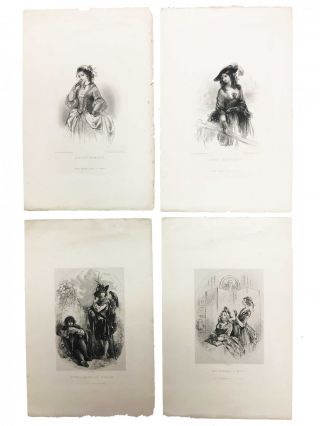 "FOUR PLATES Engraved Under the Superintendence of Hablot K. Browne and Robert Young, to Illustrate the Cheap Edition of ""BARNABY RUDGE."" EMMA HAREDALE, DOLLY VARDEN, BARNABY And HUGH, MRS. VARDEN And MIGGS. Published with the Approbation of Mr. Charles Dickens."