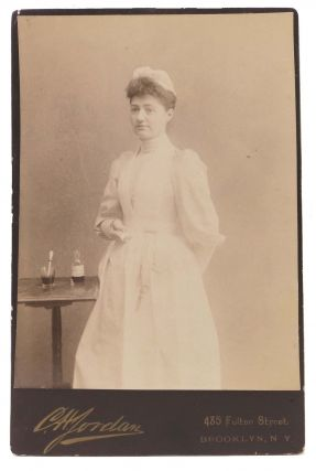 CABINET CARD PHOTOGRAPH Of A NURSE. C. H. - Photographer Jordan