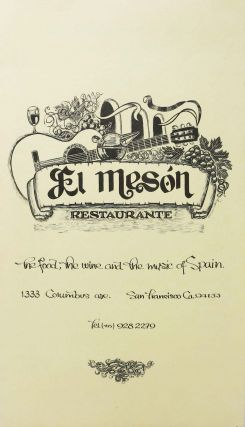 EL MASÓN RESTAURANTE.; The Food, The Wine, and The Music of Spain. Restaurant Menu - San Francisco