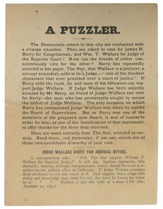 A PUZZLER. California History, William Thompson Wallace, James - Subject Barry, 1828 - 1909,...