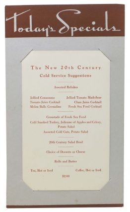 TODAY'S SPECIALS - The NEW 20th CENTURY.; Cold Service Suggestions. Railroad - Menu