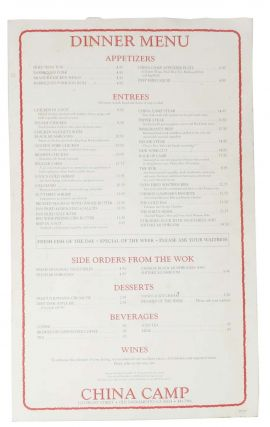 DINNER MENU - CHINA CAMP.; 1015 Front Street - Old Sacramento, Ca 95814 - 441-7966. Ca....