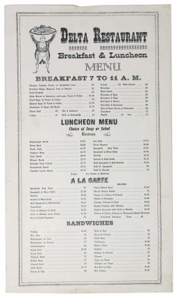 DELTA RESTAURANT.; Breakfast & Luncheon Menu. Restaurant Menu.