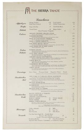 The SIERRA TAHOE.; Luncheon. Restaurant Menu - Tahoe.