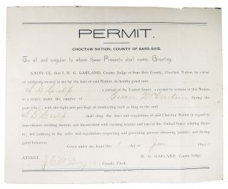 PERMIT. Choctaw Nation, County of Sans Bois. Choctaw Nation Ephemera, Green McCurtain, S. D. -...
