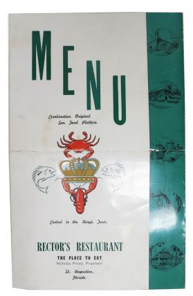 MENU. COMBINATION ORIGINAL SEA FOOD PLATTERS - COOKED To The KING'S TASTE.; Rector's Restaurant -...