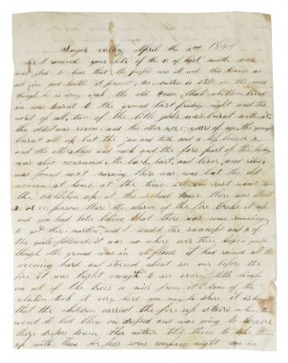 MANUSCRIPT LETTER, SIGNED [ALs]. Sugar Valley, April the 2nd 1854. John Newton Conyer