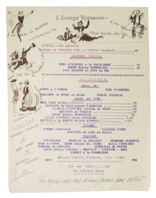 L'ESCARGOT RESTAURANT.; 1120 Connecticut Ave. - Phone Republic 9660. French Restaurant Menu -,...