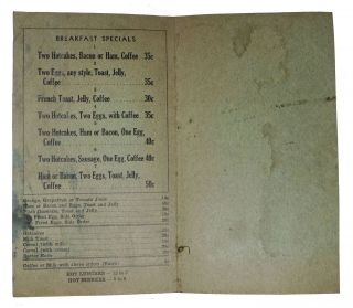 RED ROCK CAFE - MENU.; 409 Napa Road Vallejo - H. J. Suprunowski, Proprietor.