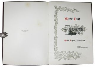 The LOUVRE - WINE LIST; Wm. Bogen, Proprietor. Corner - Eddy and Powell Sts.