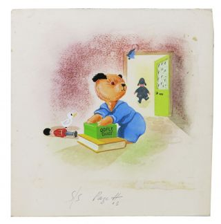 "ORIGINAL WATERCOLOR SKETCH Of SOOTY, The BEAR.; Holograph caption: ""S/S Pagett 13"" Harry -..."