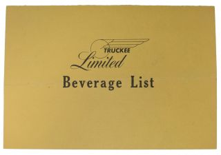 TRUCKEE - LIMITED.; Beverage List. Ca. Beverage List - Truckee