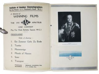 INSTITUTE Of AMATEUR CINEMATOGRAPHERS.; A Selection of Winning Films of the 1943 I.A.C Amateur Ciné Contest.