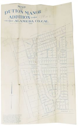 MAP Of DUTTON MANOR ADDITION Alameda Co., Cal. 1912. Scale: 100 ft = 1 inch. California East...