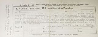 LAYAWAY PURCHASE RECEIPT. P. F. Collier, Publisher, 14 Dupont Street, San Francisco. 2. 19 ....