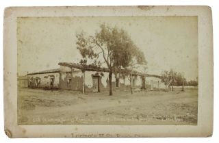 CABINET CARD ALBUMEN PHOTOGRAPH. 349. Marriage Place of Ramona Tile - Roofed Adoda at Old Town....