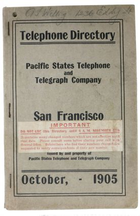 TELEPHONE DIRECTORY. San Francisco. Pacific States Telephone and Telegraph Company. October, -...