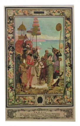 """PERSIA"".; One of the Seven Famous Mural Paintings by Albert Herter. In the Grill of the Hotel..."
