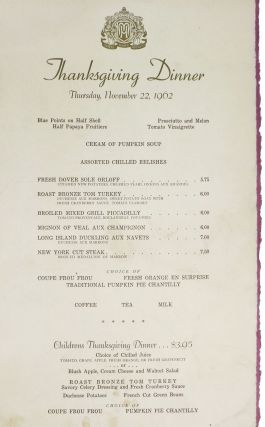 THANKSGIVING DINNER - THURSDAY, NOVEMBER 22, 1962.; Hotel Mark Hopkins. Hotel Menu - San Francisco