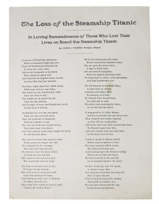 The LOSS Of The STEAMSHIP TITANIC.; In Loving Remembrance of Those Who Lost Their Lives on Board...