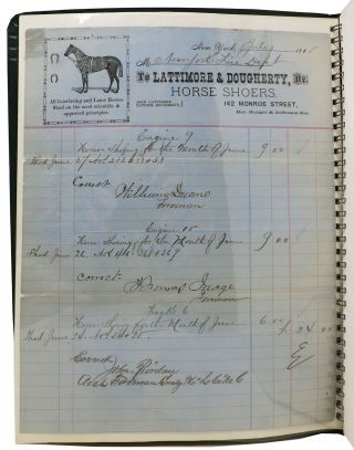 ARCHIVE Of 20 LATE 19th C. NEW YORK VETERINARIAN BILL HEADS / BILLS Of SALE / RECEIPTS.