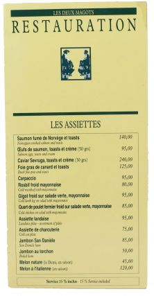 LES DEUX MAGOTS - RESTAURATION. French Restaurant Menu