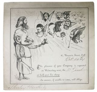 PUNCH MAGAZINE STAFF DINNER INVITATION TICKET for Wednesday, October 18, 1871. Shirley - Invitee....