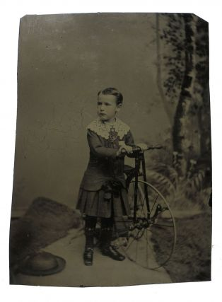 LARGE TINTYPE PHOTOGRAPH Of YOUNG BOY POSING With HIS BICYCLE. Bicycle History