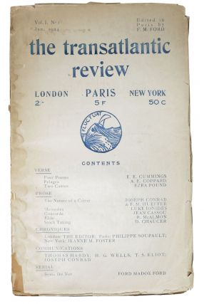 The TRANSATLANTIC REVIEW. Paris. Vol. 1 No. 1 Jan. 1924. . . - Ford, E. E. Cummings, A. E....