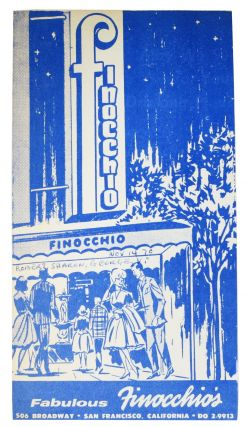 FABULOUS FINOCCHIO'S. Drink Card / Brochure