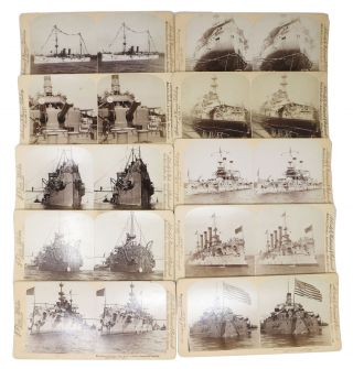 SET Of 10 STEREOVIEWS DEPICTING NAVAL VESSELS Of The ERA. Spanish American / Philippine American War