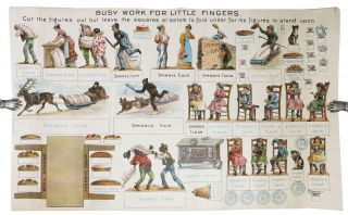 "BUSY WORK For LITTLE FINGERS.; ""Cut the figures out but leave the squares at bottom to fold under..."