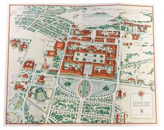 PICTORIAL BIRD'S - EYE - VIEW MAP. Stanford University. Arthur Lites