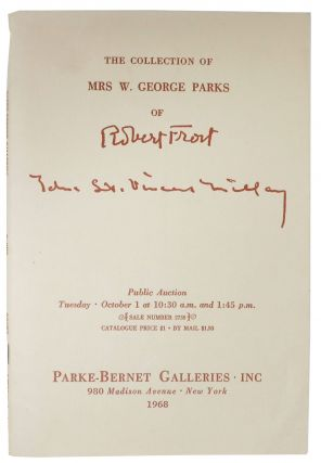 The COLLECTION Of MRS. W GEORGE PARKS Of ROBERT FROST.; Public Auction Tuesday October 1 at 10:30...