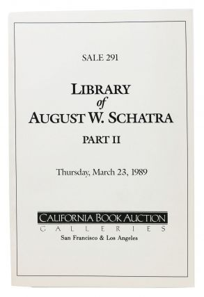 LIBRARY Of AUGUST W. SCHATRA - PART II.; Thursday, March 23, 1989. Auction Catalog