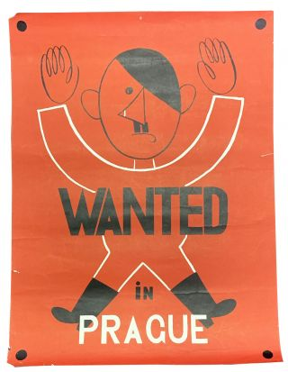 WANTED In PRAGUE. WWII Poster, Adolf - Subject Hitler, 1889 - 1945