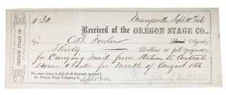 PAY RECIEPT. Sept. 10th 1866. 19th C. California Ephemera, C. B. - Recipient Fowler