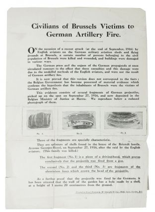 CIVILIANS Of BRUSSELS VICTIMS To GERMAN ARTILLERY FIRE. WWI Leaflet