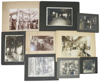 CACHE Of NINE B/W PHOTOGRAPHS DOCUMENTING 19th C / EARLY 20th C TRADES & OCCUPATIONS. Industrial...