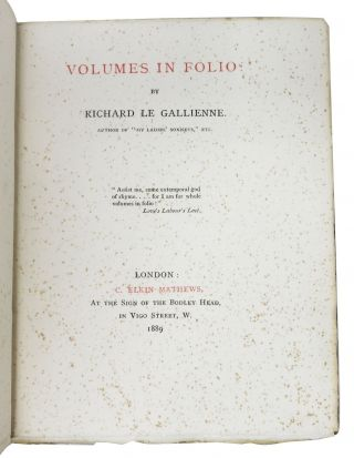 VOLUMES In FOLIO.