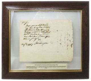 AUTOGRAPH NOTE, SIGNED [ANs]. Addressed to Wm. Vernon, the Newport Merchant. John. Vernon...