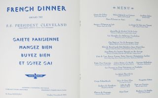FRENCH DINNER.; Aboard the S. S. President Cleveland.
